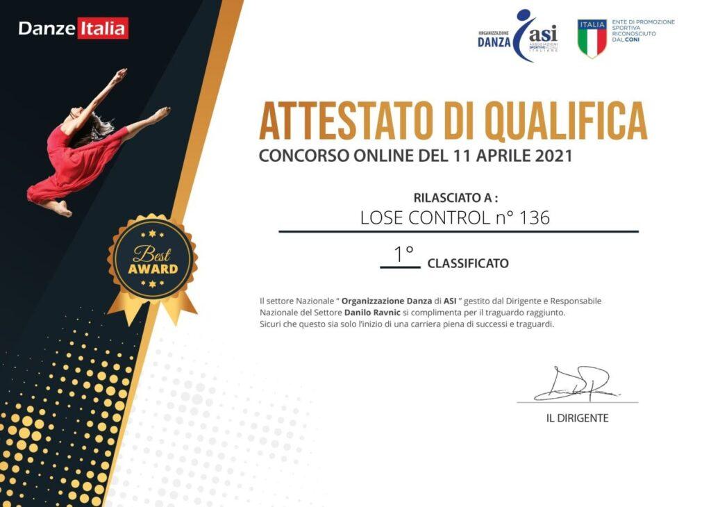 Attestato che accerta la prima posizione per fatima Emiro nel concorso on line di Danze Italia