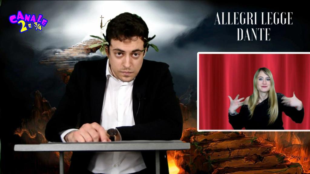 Max Allegri legge Dante Alighieri per Canale 2 e 3/4